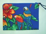 Handmade Zipper Cosmetic Pouch, Scarlet Macaws