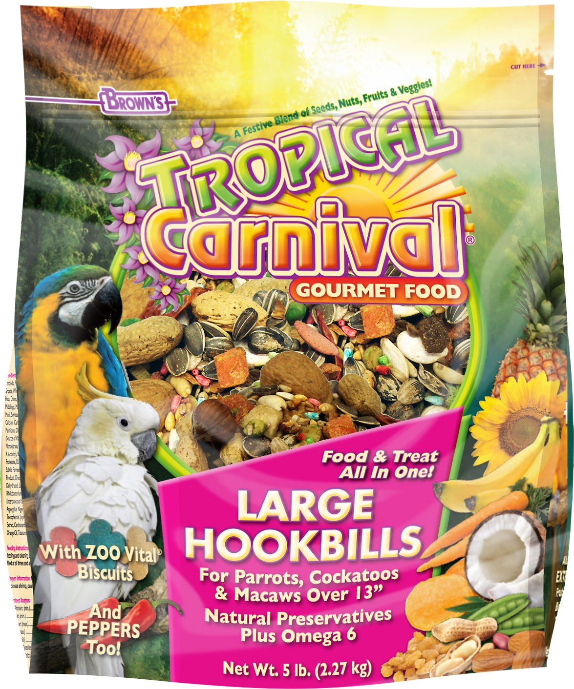 Brown's Tropical Carnival Gourmet Large Hookbill, 5lb