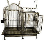 Split Level Bird Cage - with Playtop & Divider - Stainless Steel