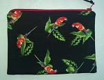 Handmade Zipper Cosmetic Pouch, Tiny Macaws on Black