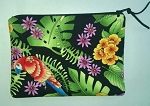 Handmade Zipper Cosmetic Pouch, Tropical Macaws