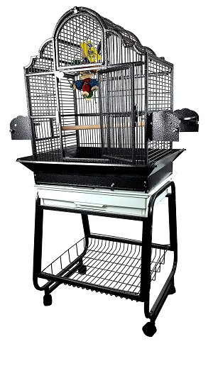 "22""x18""x62"" Victorian Top Cage with Removable Rolling Cart and Seed Guards"