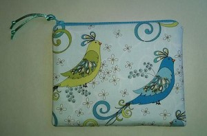 Handmade Zipper Cosmetic Pouch, Pastel Birds